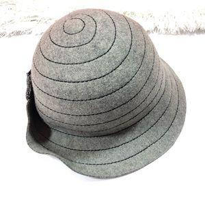 Anthropologie Gray Wool Cloche Hat